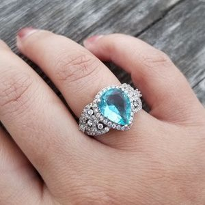 💍 Sterling Silver, 925 Sky Blue Ring💍